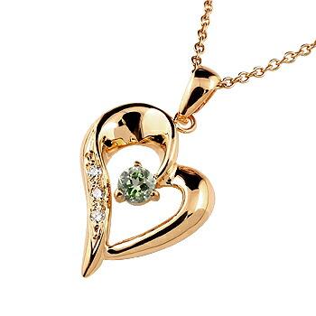 オープンハート ネックレス ペリドット ダイヤモンド ペンダント ピンクゴールドk18 レディース チェーン 人気
