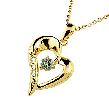 オープンハート ネックレス ペリドット ダイヤモンド ペンダント イエローゴールドk18 レディース チェーン 人気