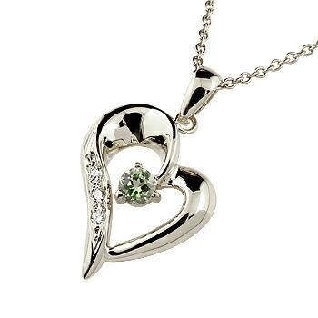 オープンハート ネックレス ペリドット ダイヤモンド ペンダント レディース チェーン 人気