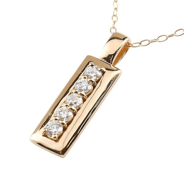 天然ダイヤモンド ネックレス ピンクゴールドk18 ペンダント チェーン 人気 4月誕生石 18金 レディース