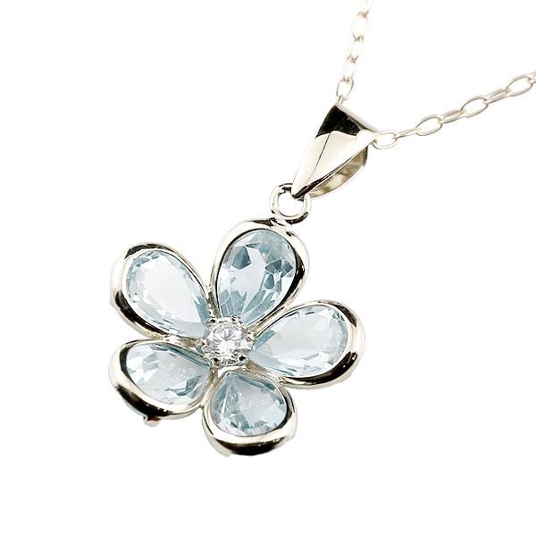 アクアマリン ネックレス ダイヤモンド ホワイトゴールドk18 ペンダント 花 チェーン 人気 3月誕生石 18金 レディース