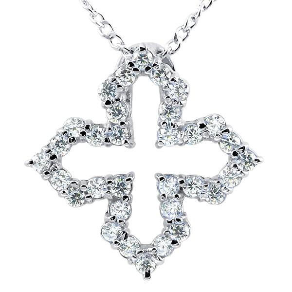プラチナネックレス ダイヤモンド オープンクロス ペンダント pt900 チェーン 十字架 ダイヤ レディース 人気