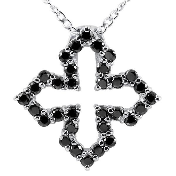 ネックレス ブラックダイヤモンド ホワイトゴールドK10 オープンクロス ペンダント 10金 チェーン 十字架 ダイヤ レディース 人気