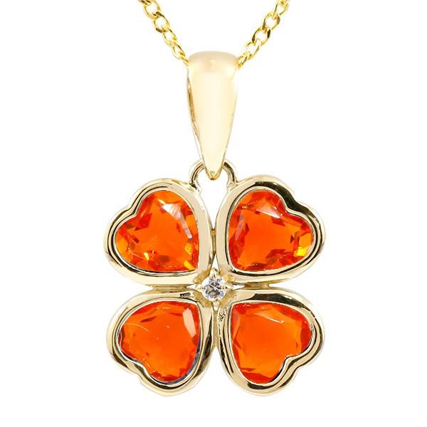 ネックレス イエローゴールドk10 ファイアーオパール ダイヤモンド クローバー ペンダント チェーン 人気 10金 レディース 宝石 四葉