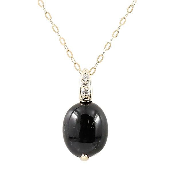 ネックレス ブラックスター ダイヤモンド イエローゴールドk10 ダイヤ ペンダント チェーン 10金 レディース シンプル