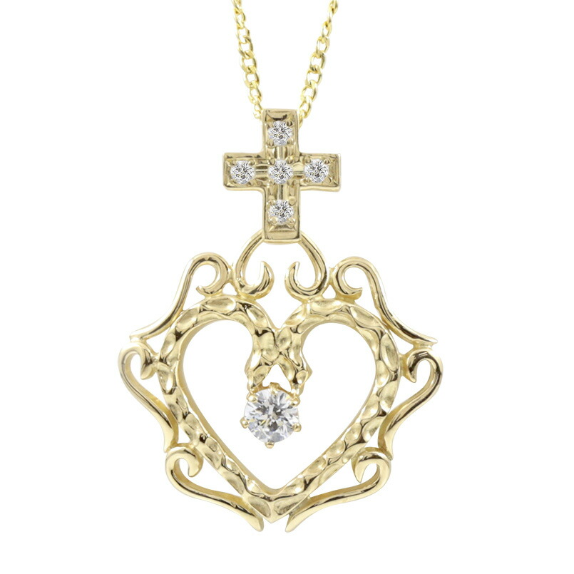ネックレス ダイヤモンド イエローゴールドk18 オープンハート クロス ネックレスペンダント チェーン 十字架 ハート ダイヤ レディース 人気  女性