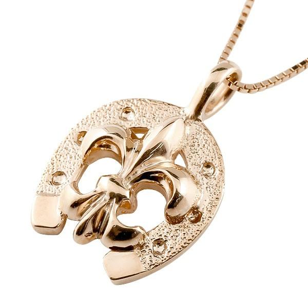 馬蹄 ネックレス ユリの紋章 ペンダント ピンクゴールドk18 ホースシュー 18金 シンプル レディース チェーン 人気 蹄鉄