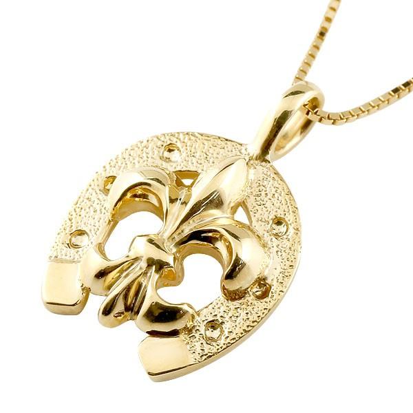 馬蹄 ネックレス ユリの紋章 ペンダント イエローゴールドk18 ホースシュー 18金 シンプル レディース チェーン 人気 蹄鉄