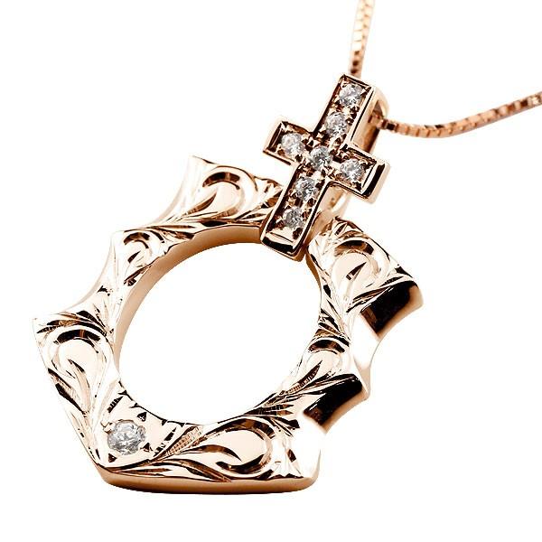 ハワイアン ダイヤモンド 馬蹄 ピンクゴールドk10 クロス ネックレス ペンダント 10金 十字架 ホースシュー 蹄鉄 アンティーク風 チェーン ダイヤ 人気
