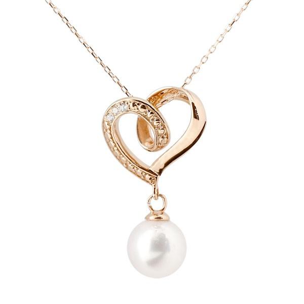 真珠 パール ネックレス ダイヤモンド ピンクゴールドk10ペンダント オープンハート チェーン 人気 6月誕生石 10金 レディース