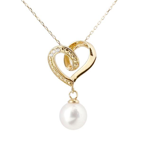 真珠 パール ネックレス ダイヤモンド イエローゴールドk10ペンダント オープンハート チェーン 人気 6月誕生石 10金 レディース