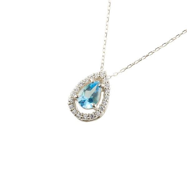 ブルートパーズ ネックレス ダイヤモンド プラチナ ペンダント ティアドロップ型 チェーン 人気 11月誕生石 pt900