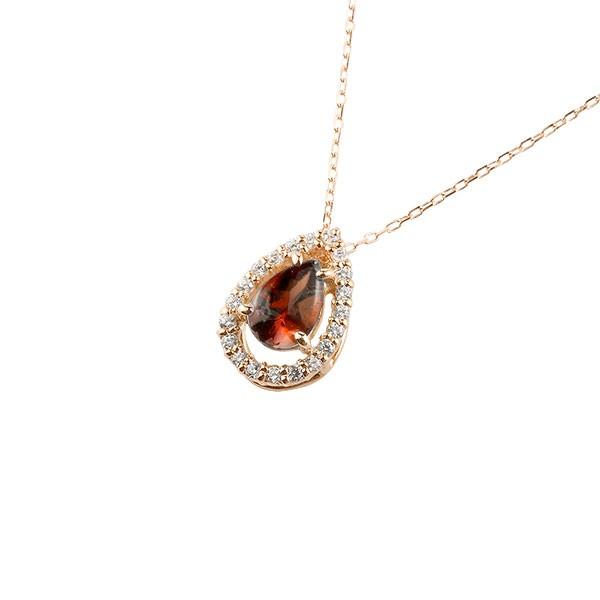 ガーネット ネックレス ダイヤモンド ピンクゴールド ペンダント ティアドロップ型 チェーン 人気 1月誕生石 k18