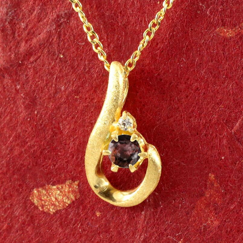 純金 ティアドロップ ガーネット ダイヤモンド ネックレス レディース ペンダント 雫 つゆ型 涙型 24金 ゴールド k24 人気 女性