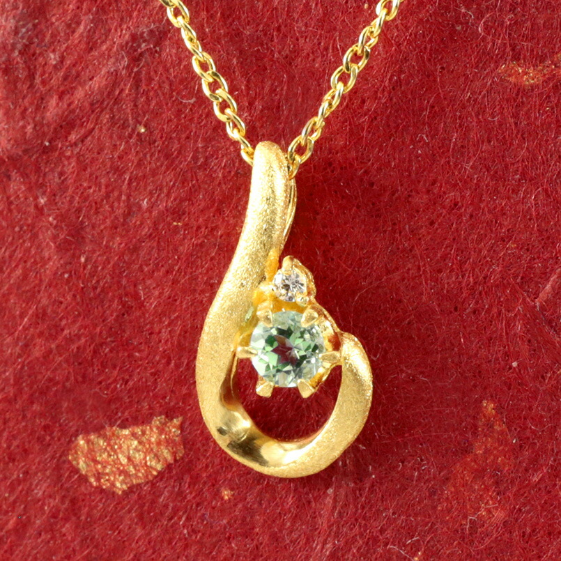 純金 ティアドロップ ペリドット ダイヤモンド ネックレス レディース ペンダント 雫 つゆ型 涙型 24金 ゴールド k24 人気 女性
