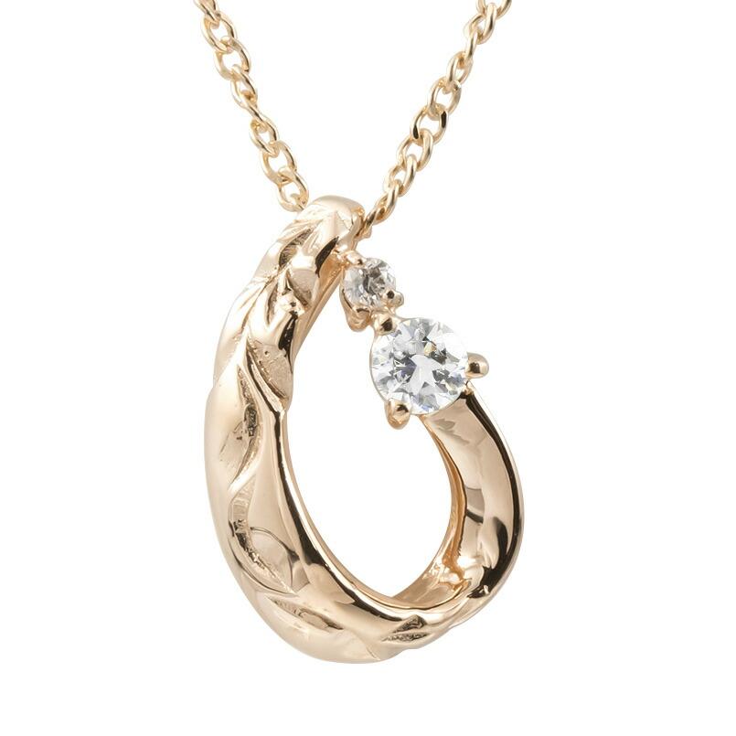 ハワイアンジュエリー ネックレス ピンクゴールドK10 ダイヤモンド ティアドロップ チェーン ネックレス レディース 雫 つゆ型 涙型 プレゼント 女性