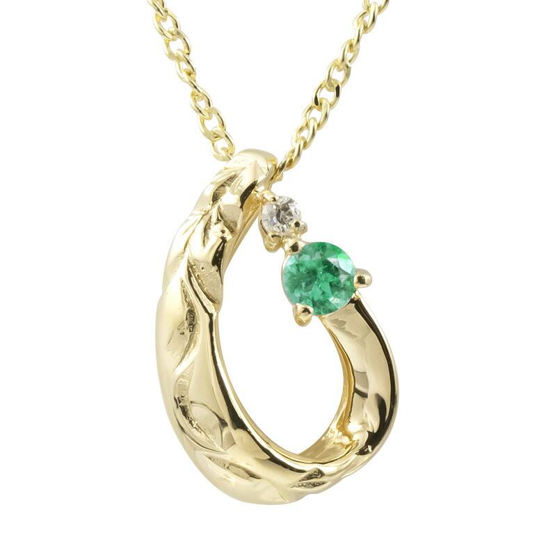 ハワイアンジュエリー ネックレス イエローゴールドk18 エメラルド ダイヤモンド ティアドロップ チェーン ネックレス レディース 雫 つゆ型 涙型 プレゼント 女性