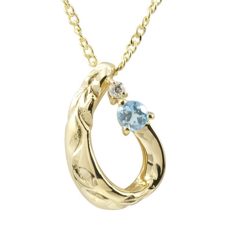 ハワイアンジュエリー ネックレス イエローゴールドk18 ブルートパーズ ダイヤモンド ティアドロップ チェーン ネックレス レディース 雫 つゆ型 涙型 プレゼント 女性