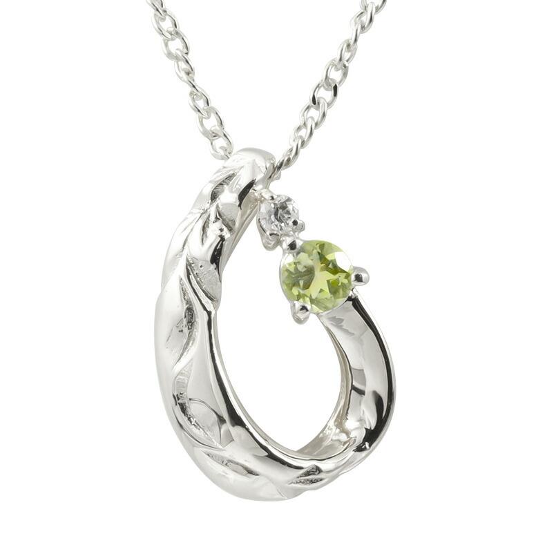 ハワイアンジュエリー ネックレス ホワイトゴールドK10 ペリドット ダイヤモンド ティアドロップ チェーン ネックレス レディース 雫 つゆ型 涙型 プレゼント 女性