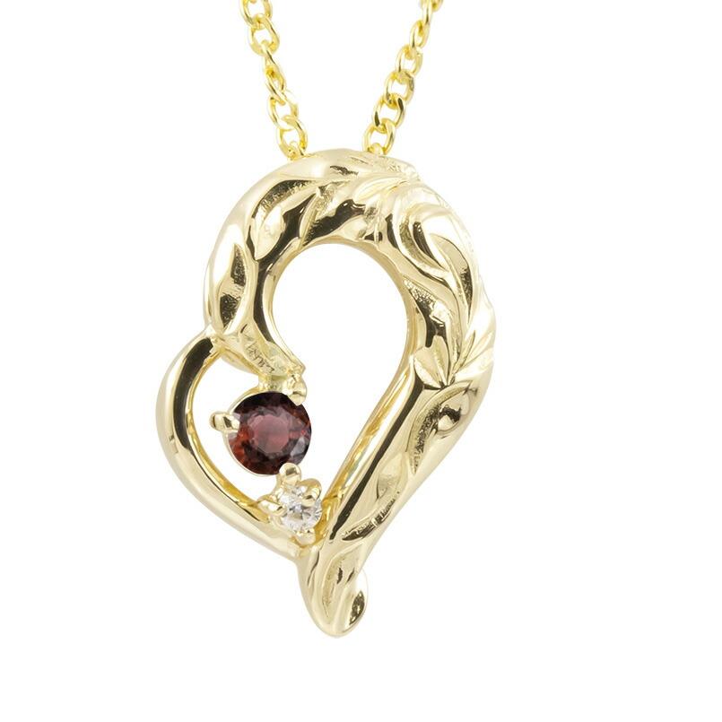 ハワイアンジュエリー ネックレス イエローゴールドK10 ガーネット ダイヤモンド ハート チェーン ネックレス レディース オープンハート プレゼント 女性