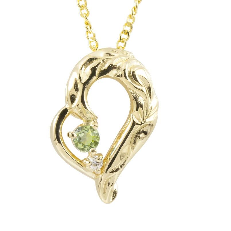 ハワイアンジュエリー ネックレス イエローゴールドk18 ペリドット ダイヤモンド ハート チェーン ネックレス レディース オープンハート プレゼント 女性