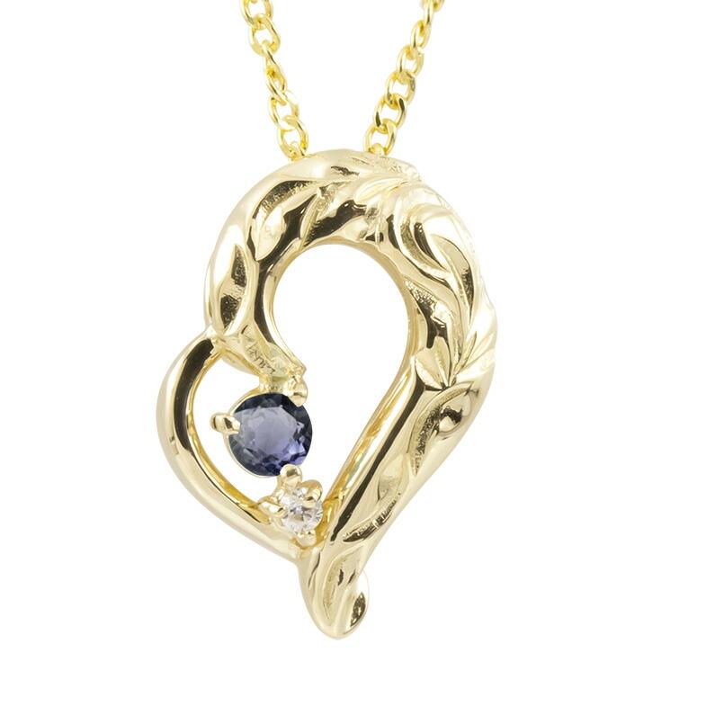 ハワイアンジュエリー ネックレス イエローゴールドk18 アイオライト ダイヤモンド ハート チェーン ネックレス レディース オープンハート プレゼント 女性