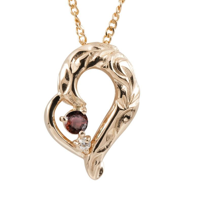 ハワイアンジュエリー ネックレス ピンクゴールドK10 ガーネット ダイヤモンド ハート チェーン ネックレス レディース オープンハート プレゼント 女性