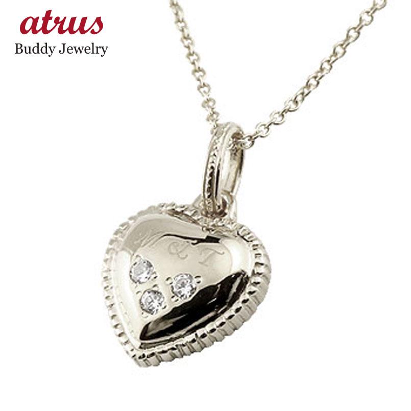 ハート ネックレス ダイヤモンド ダイヤ ペンダント ホワイトゴールドk18 イニシャル 刻印 レディース チェーン 人気
