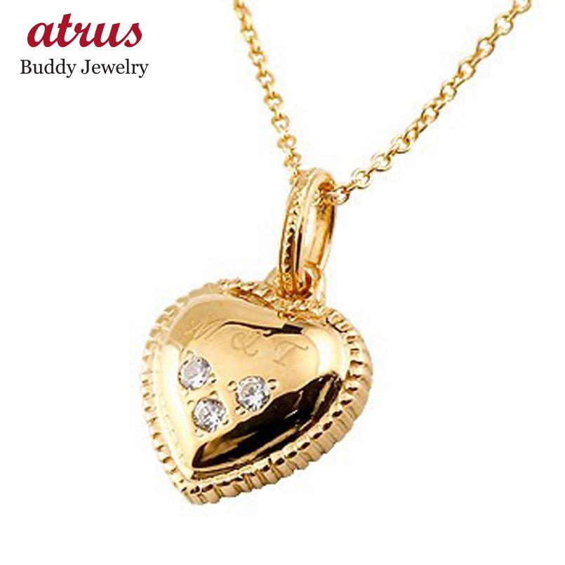 ハート ネックレス ダイヤモンド ダイヤ ペンダント ピンクゴールドk18 イニシャル 刻印 レディース チェーン 人気