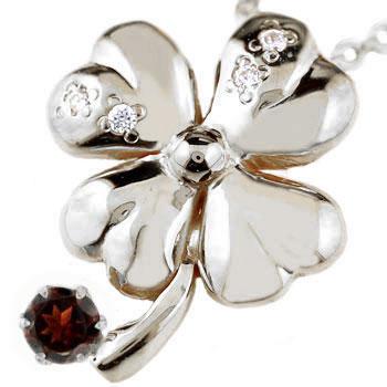 クローバー ネックレス ガーネット ホワイトゴールドk18 四葉 ダイヤモンド ペンダント 1月誕生石 レディース チェーン 人気