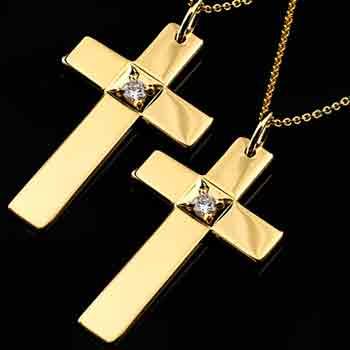 ペアペンダント イエローゴールドk18 クロス ペンダント ダイヤモンド
