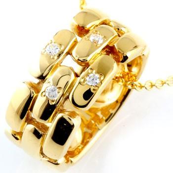 ダイヤモンド ネックレス ペンダント ダイヤ リングネックレス イエローゴールドk18 レディース チェーン 人気