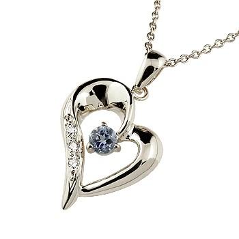 オープンハート ネックレス アイオライト ダイヤモンド ペンダント ホワイトゴールドk18 レディース チェーン 人気