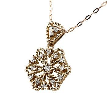 雪の結晶 ネックレス ダイヤモンド ペンダント ピンクゴールドk18 ダイヤ スノーモチーフ レディース チェーン 人気