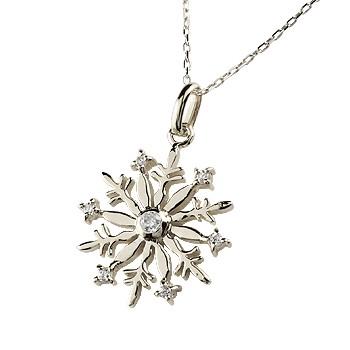 雪の結晶 ネックレス ダイヤモンド ペンダント ホワイトゴールドk18 ダイヤ スノーモチーフ レディース チェーン 人気