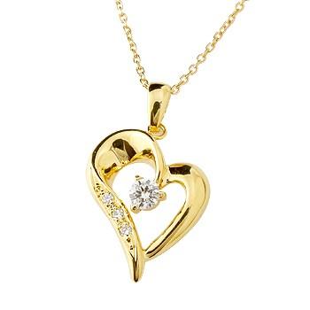 オープンハート ネックレス ダイヤモンド ダイヤ ペンダント イエローゴールドk10 レディース チェーン 人気