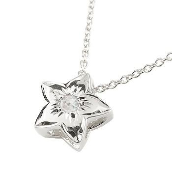 フラワー ネックレス ブルームーンストーン 花 ペンダント ホワイトゴールドk18 6月誕生石 レディース チェーン 人気