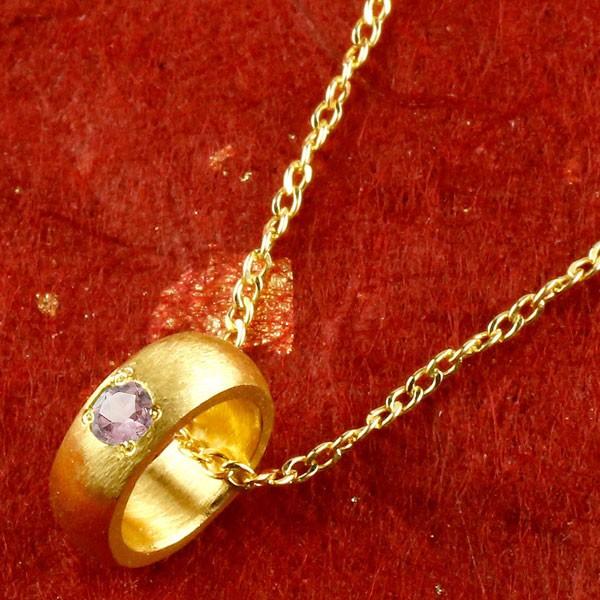 純金 ベビーリング ピンクサファイア 一粒 ペンダント 誕生石 出産祝い ネックレス レディース 9月誕生石 甲丸 24金 k24 人気
