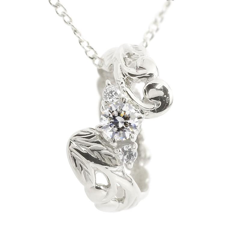 ハワイアンジュエリー プラチナネックレス ダイヤモンド ベビーリング チェーン ネックレス シンプル 人気 プレゼント
