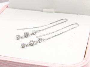 【送料無料】ダイヤモンド:ピアストリロジー:プラチナピアス:ダイヤモンド0.40ct:アメリカン:ロングピアス,特別価格【工房直販】