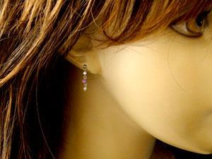 【送料無料】ルビー ダイヤモンド プラチナ ロングピアス