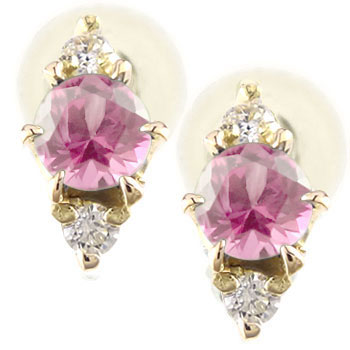 ピンクサファイアピアス ダイヤモンド イエローゴールドk18 6月誕生石