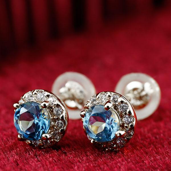 ブルートパーズ ダイヤモンド プラチナ ピアス 大粒 取り巻き スタッドピアス 11月誕生石 レディース