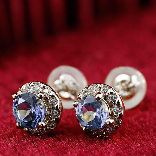 タンザナイト ダイヤモンド ピアス 大粒 取り巻き スタッドピアス ホワイトゴールドk18 12月誕生石 レディース