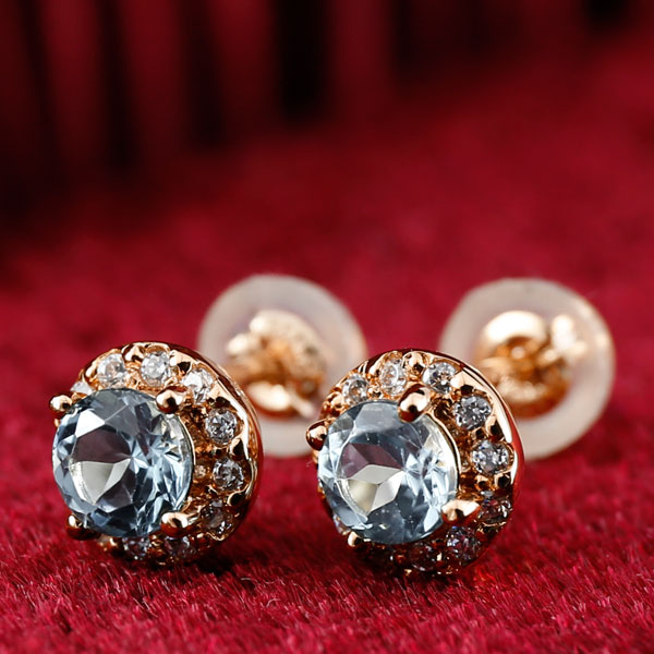 アクアマリン ダイヤモンド ピアス 大粒 取り巻き スタッドピアス ピンクゴールドk18 3月誕生石 レディース