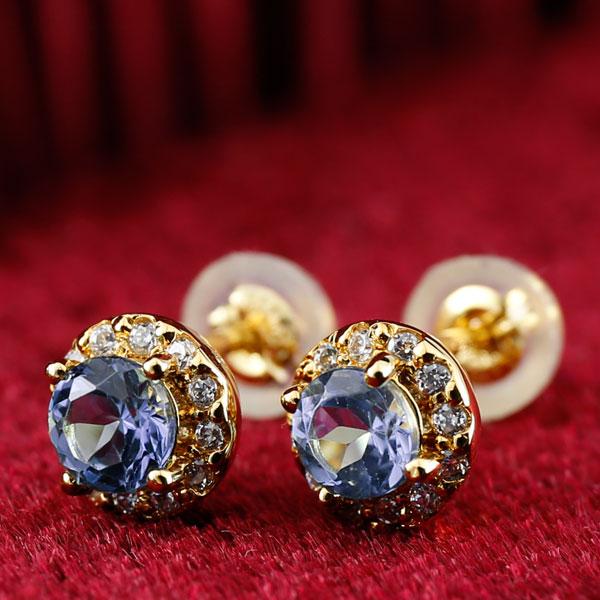 タンザナイト ダイヤモンド ピアス 大粒 取り巻き スタッドピアス イエローゴールドk18 12月誕生石 レディース