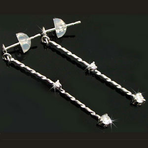 【送料無料】ダイヤモンド:ピアス:ホワイトゴールドK18:ダイヤモンド0.13ct::ロングピアス:特別価格【工房直販】
