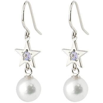 パール ホワイトゴールドピアス タンザナイト 星 スター フックピアス 真珠 揺れる k18 シンプル レディース
