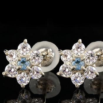 ダイヤモンド ピンクトルマリン プラチナ ピアス フラワー 花 スタッドピアス レディース