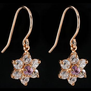 ダイヤモンド ピンクサファイア ピアス フラワー 花 フックピアス ピンクゴールドk18 レディース